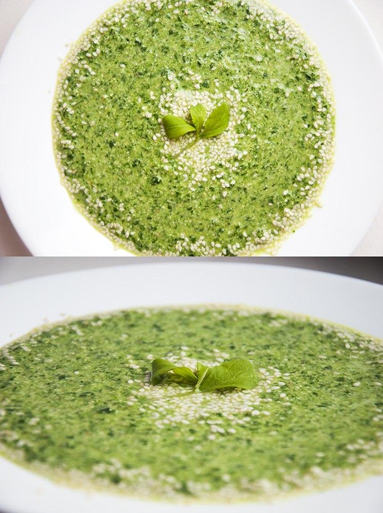 Шпинатно-гречневый суп на кунжутном молоке